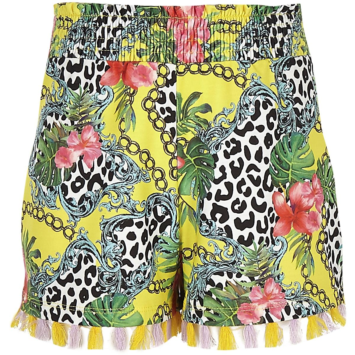 Girls yellow mixed print tassel trim shorts