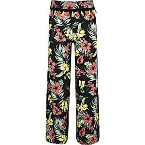 Pantalon large à fleurs noir pour fille