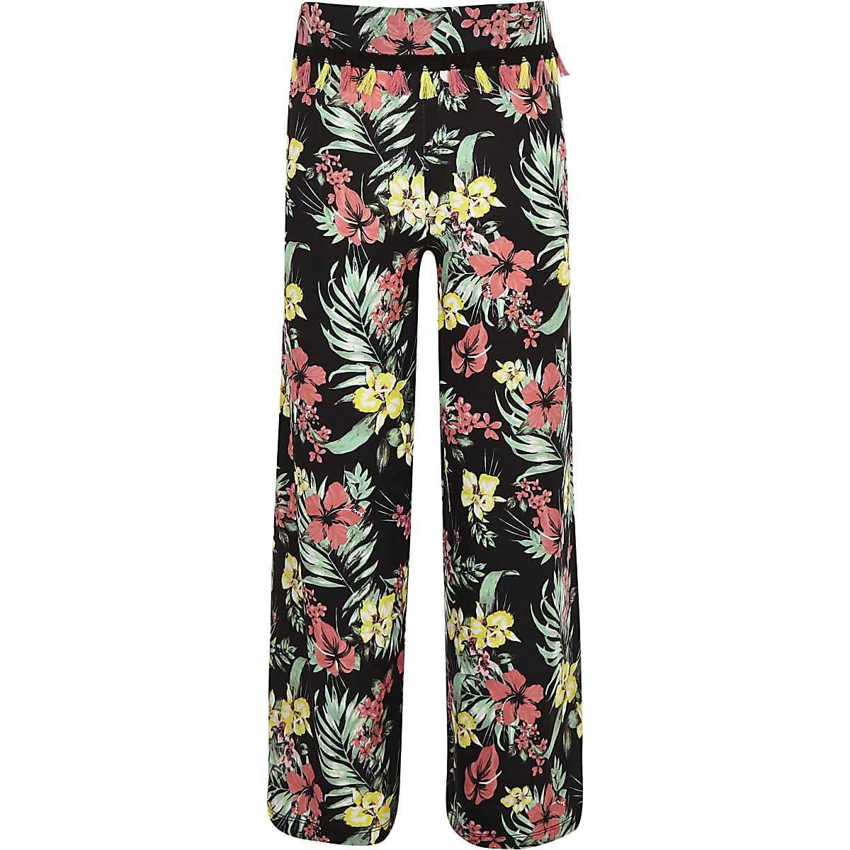 Girls black floral wide leg trousers