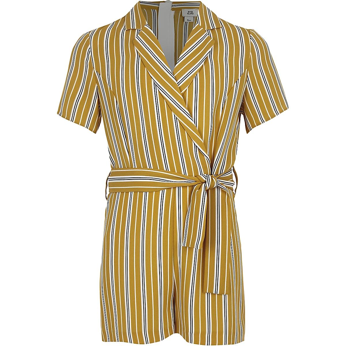 Girls yellow stripe wrap romper