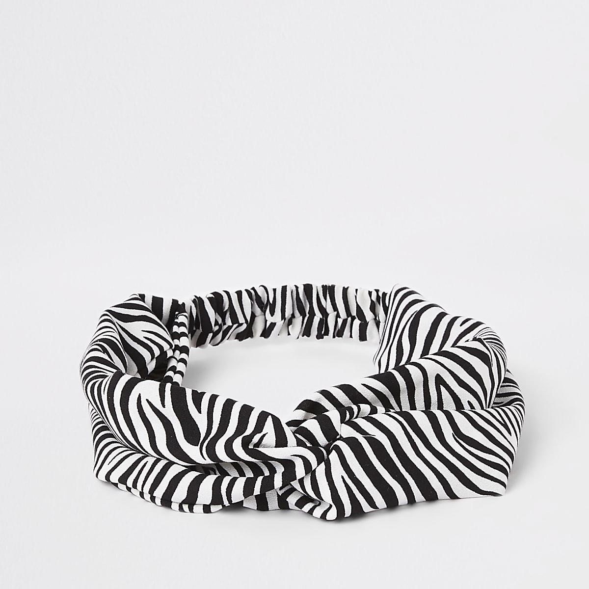 Girls black zebra headband