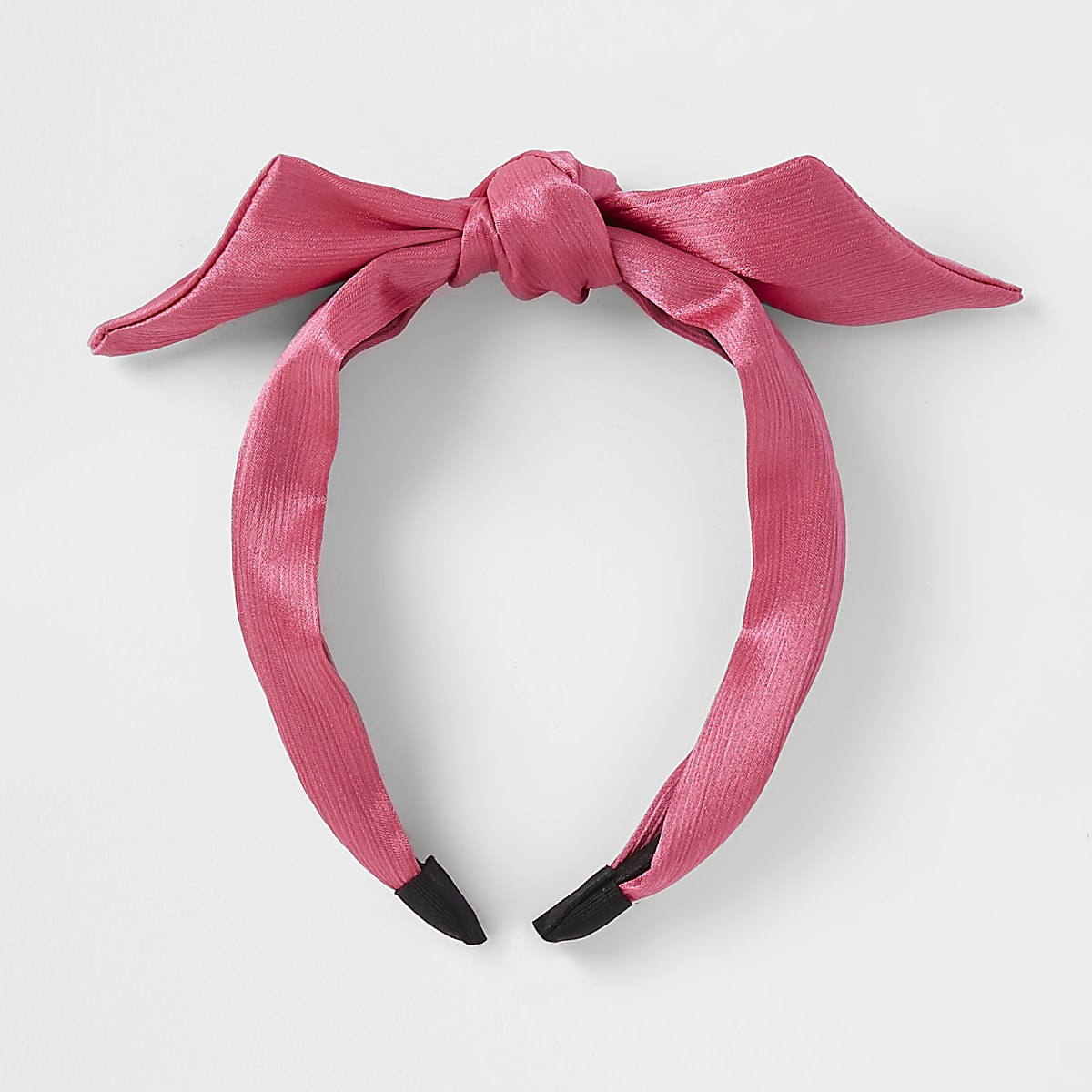 Girls pink bow front headband