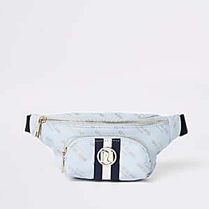 Girls blue RI print contrast stripe bum bag