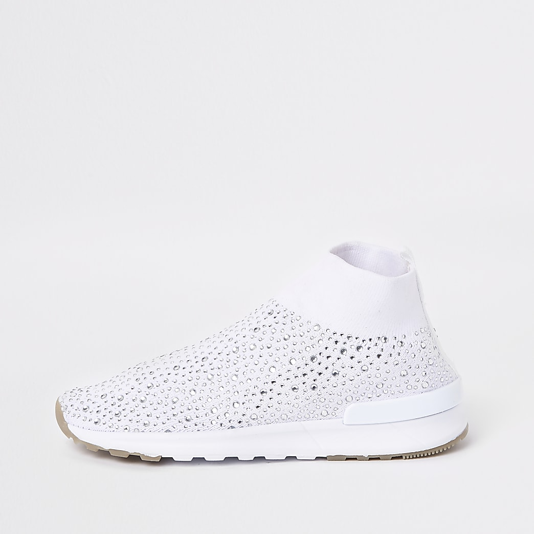 Girls white sequin embellished sock trainers