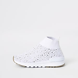 Mini girls white sequin sock runner sneakers