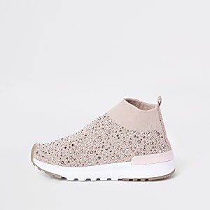 Mini girls pink sequin sock runner sneakers