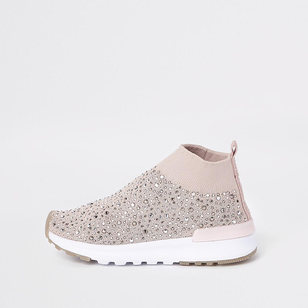 Mini girls pink sequin sock runner trainers
