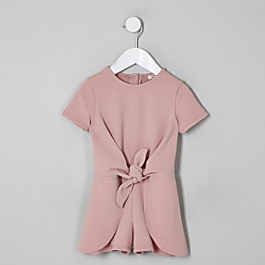 Mini girls pink knot front playsuit