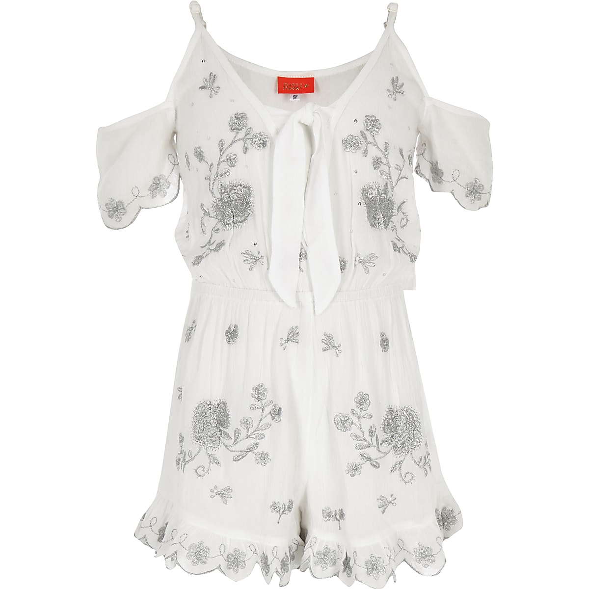 Girls white embroidered beach playsuit