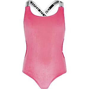 Roze fluwelen zwempak met uitsnedes voor meisjes