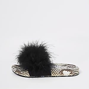 Girls black snake print faux fur sliders