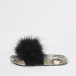 Zwarte slippers met slangenprint en imitatiebont voor meisjes