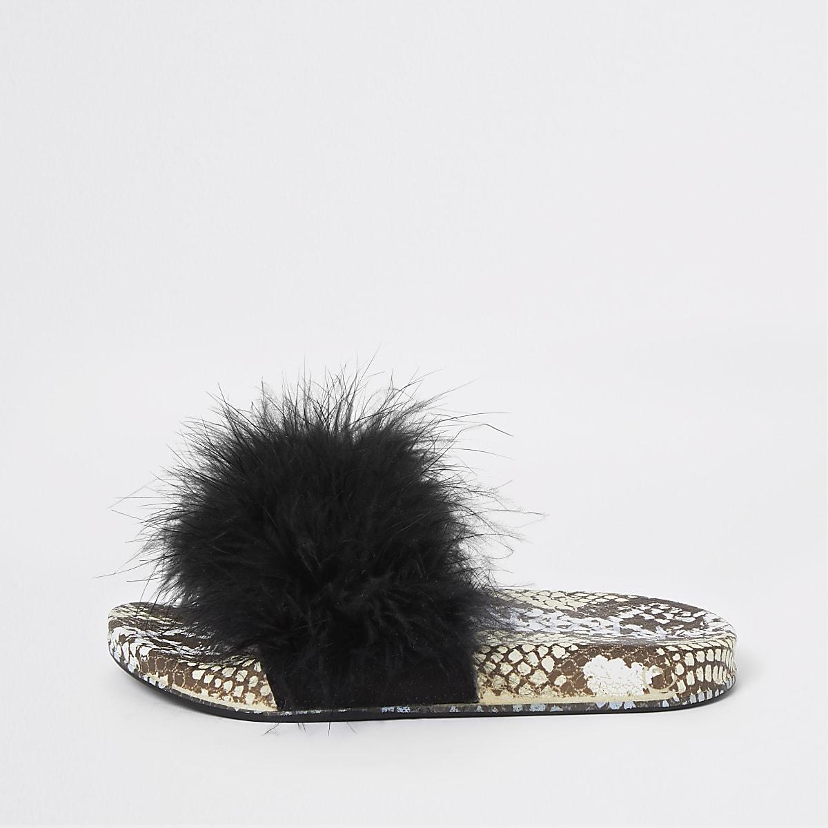 Girls black snake print faux fur sliders