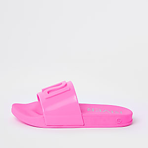Girls neon pink jelly sliders