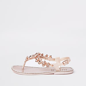 Girls pink embellished jelly sandals