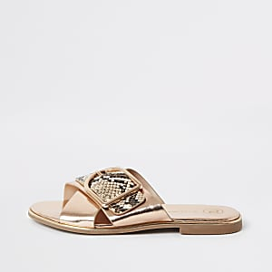 Girls gold buckle sliders