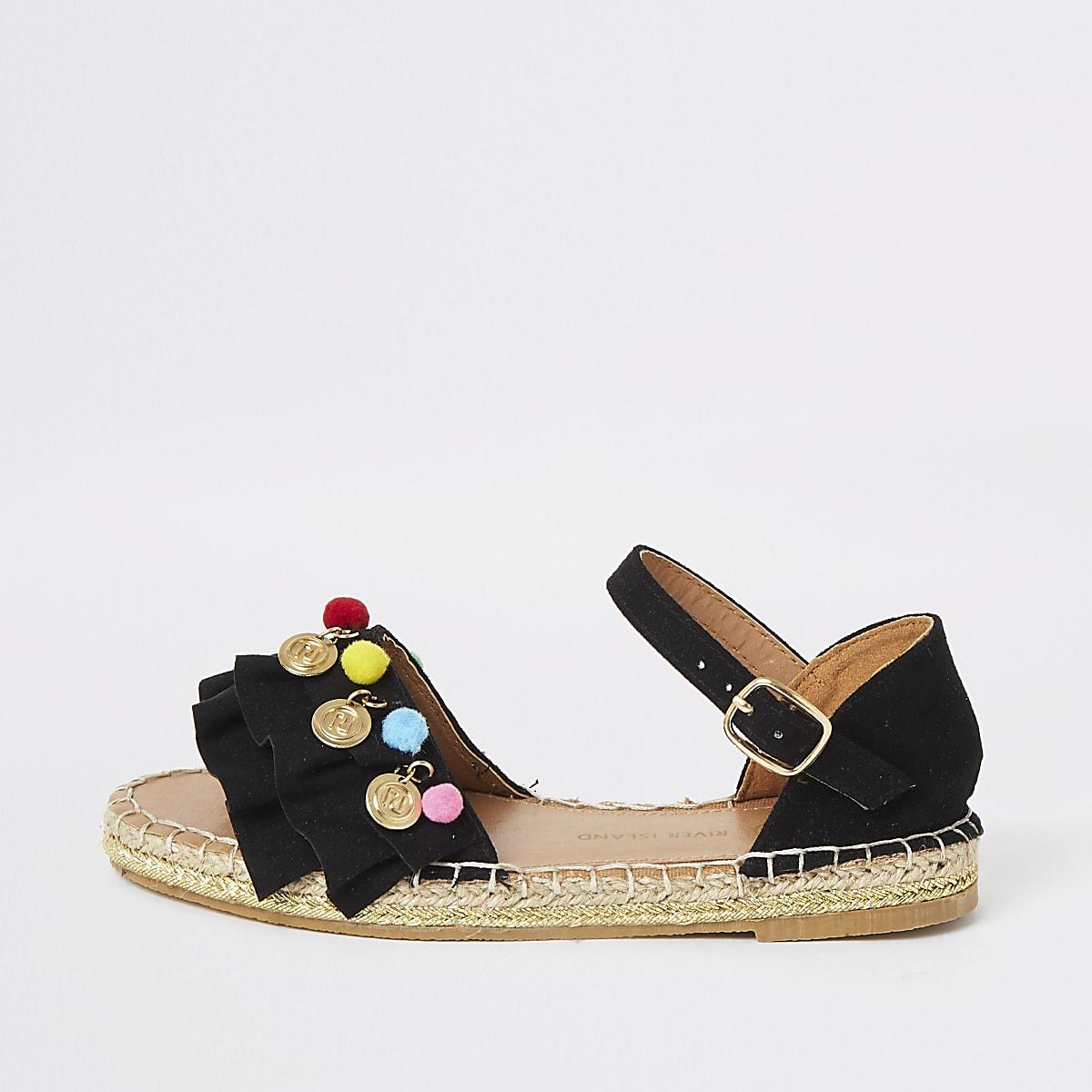 Girls black pom pom espadrille sandals