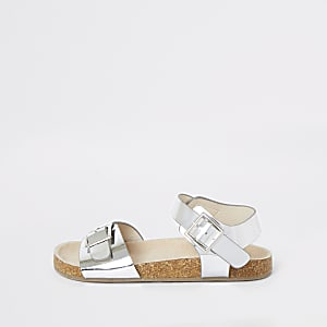 Girls silver cork sandals