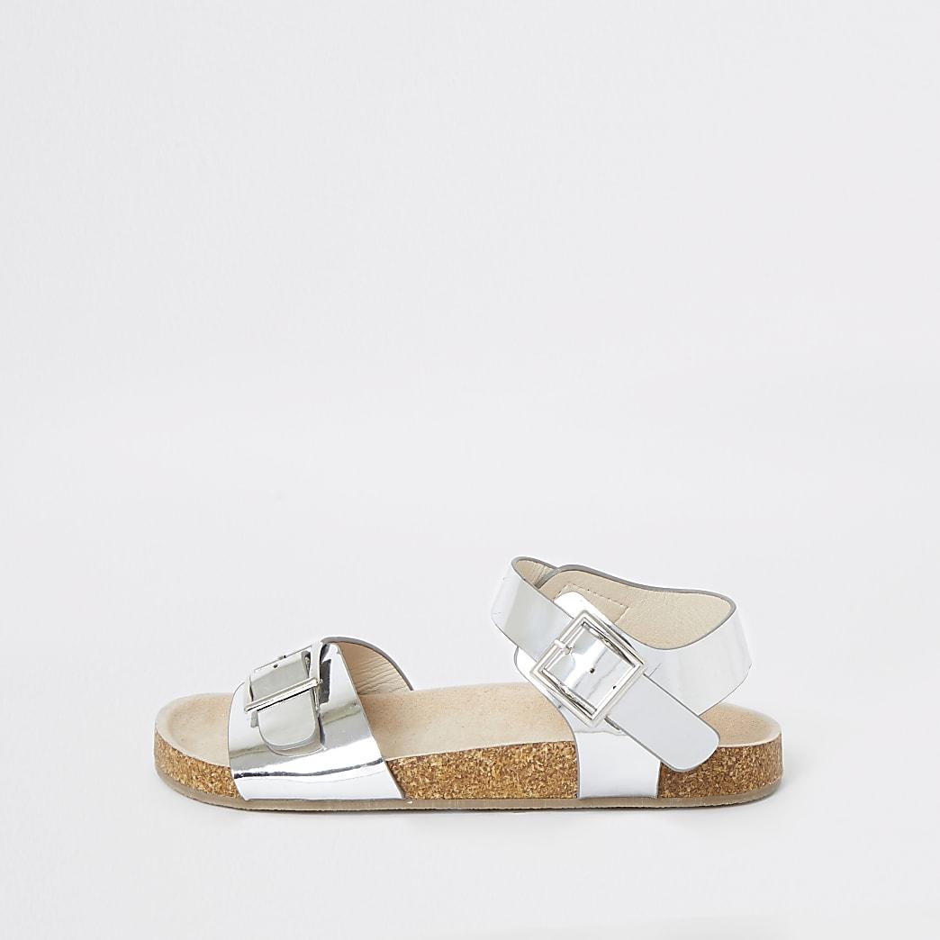 Girls silver cork sandals