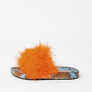 Oranje instapslippers met slangenprint en veren voor meisjes