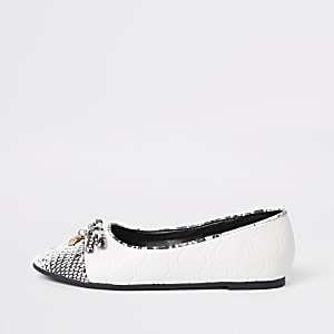 Girls white RI snake ballerina pumps