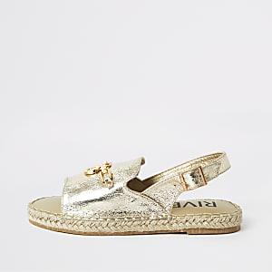 Girls gold espadrille peep toe sandals