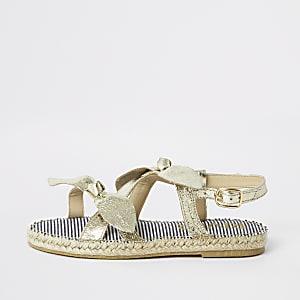 Sandales dorées nouées façon espadrilles pour fille