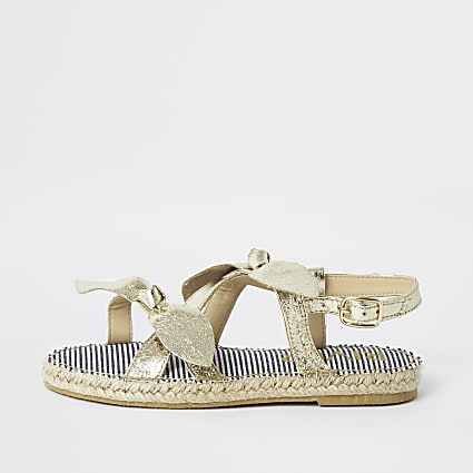 Girls gold bow espadrille sandals