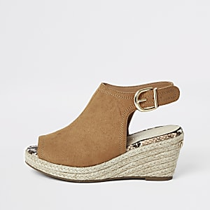 Girls brown espadrille wedges
