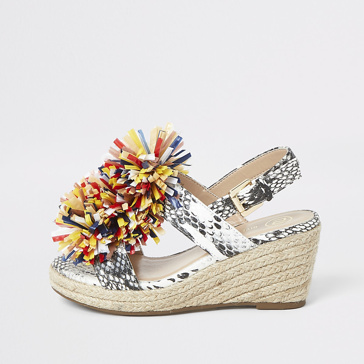 Girls black espadrille pom pom wedges