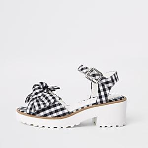 Sandales épaisses à nœud motif vichy noires pour fille