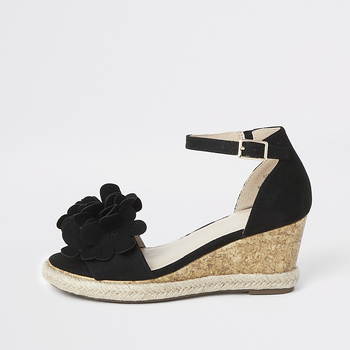 Girls black floral embellished wedges