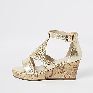 Girls gold metallic woven wedges