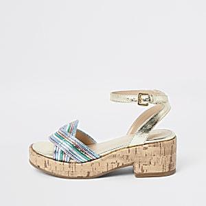 Girls gold metallic clumpy sandals