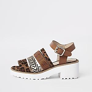 Sandales épaisses imprimé animal marron pour fille