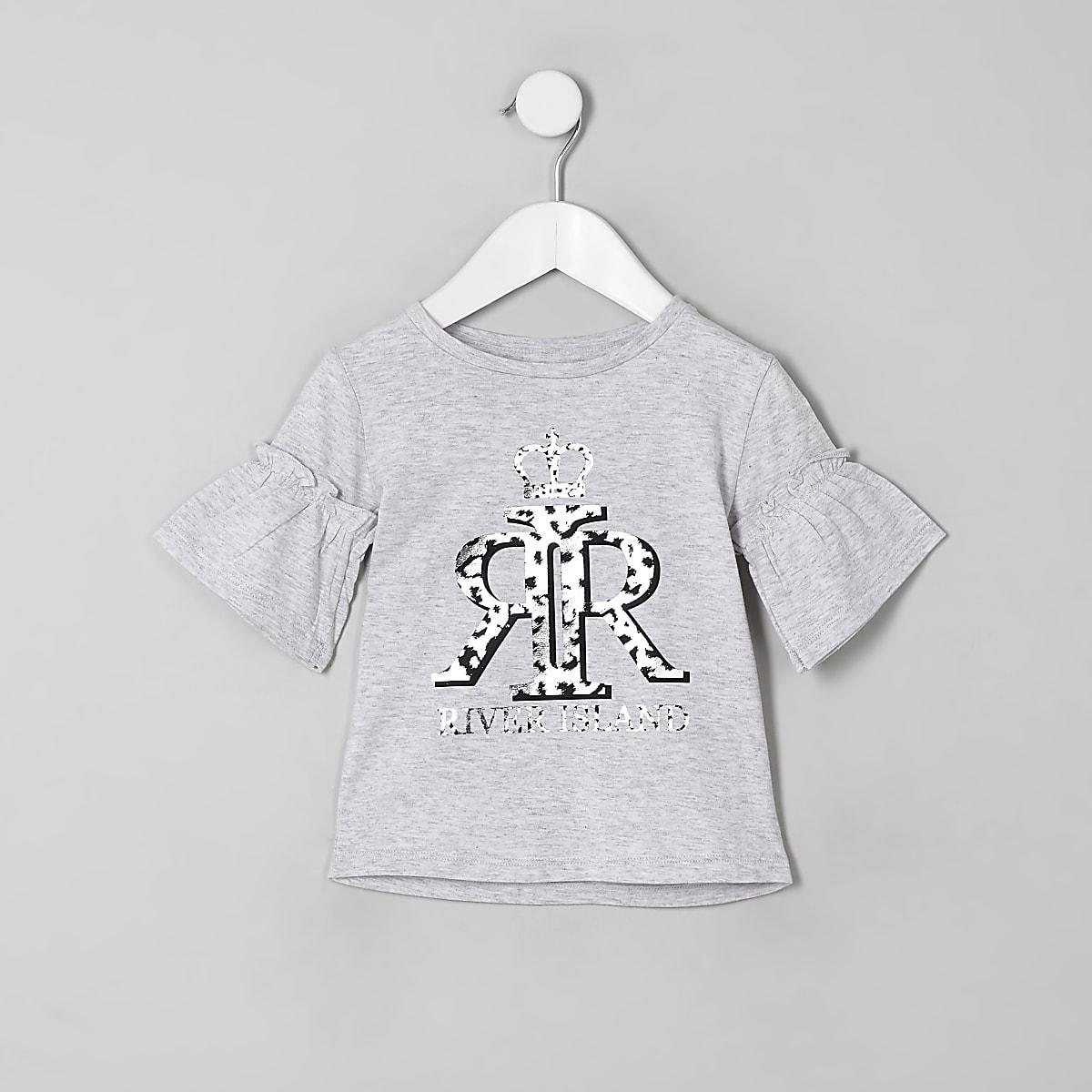 Mini girls grey RI silver foil print T-shirt