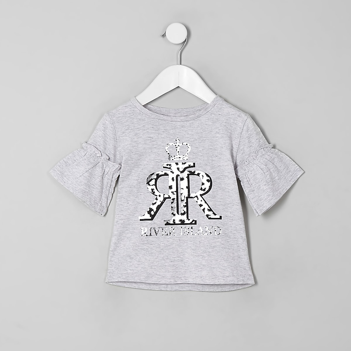 Mini girls grey RI silver foil print T-shirt