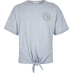 T-shirt RI bleu noué sur le devant pour fille