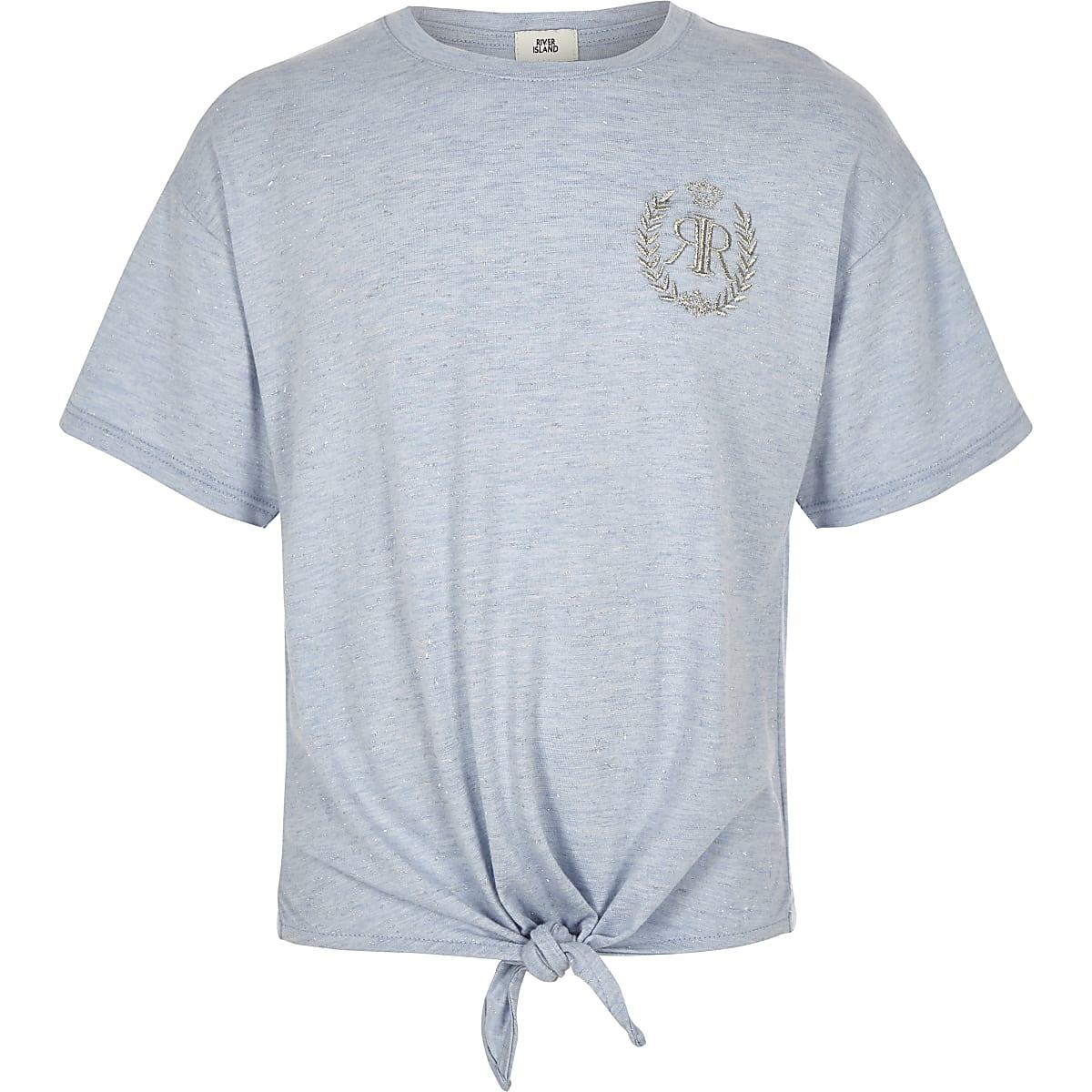 Girls blue RI tie front T-shirt