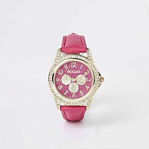 Roze horloge met ingelegde siersteentjes voor meisjes