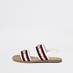 Sandales plates blanches avec strass pour fille
