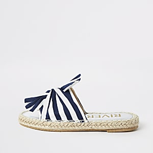 Girls navy stripe espadrille sliders