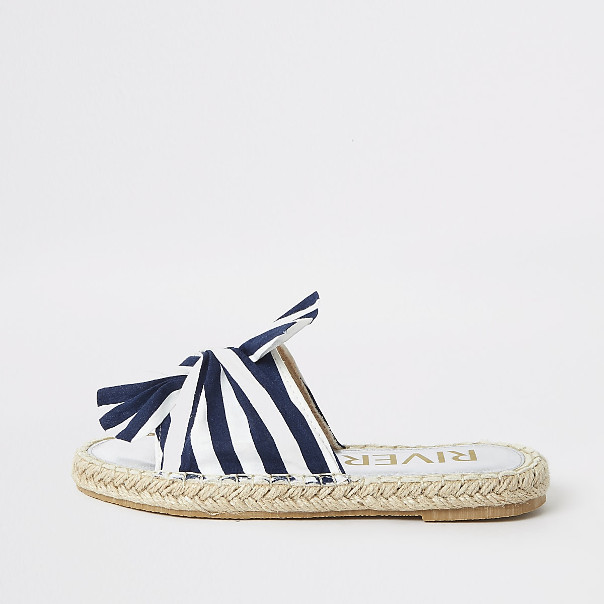 18cf54e72 Girls navy stripe espadrille sliders - Sandals - Footwear - girls