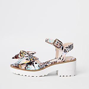 Sandales épaisses à nœud motif tropical roses pour fille
