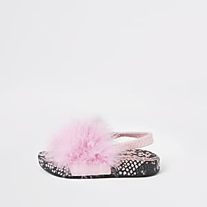 0d43f8af2d15 Mini girls pink snake feather sliders
