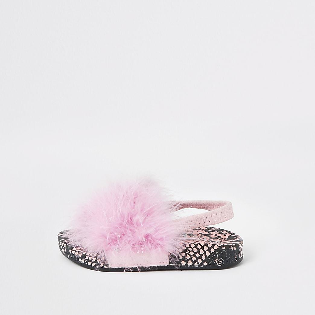 Mini - Roze slippers met slangenprint en veren voor meisjes