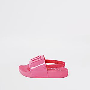 Mini - Neonroze jelly slippers met RI-logo voor meisjes
