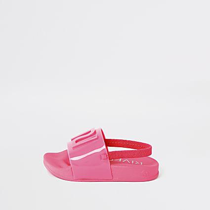 Mini girls neon pink RI jelly sliders