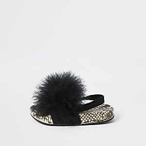Mini girls black snake feather sliders