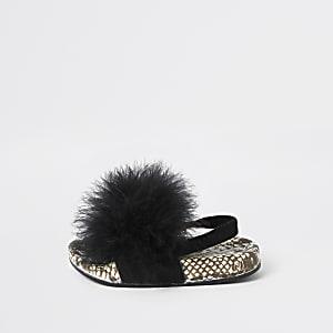Mini - Zwarte slippers met slangenprint en veren voor meisjes